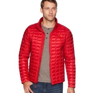 Men's North Face Thermoball Hoodie Jacket—Rage Red